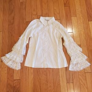 Newport News Cream Blouse with Lace Sleeves